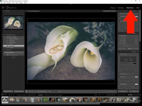 Pannello Presentazione Slideshow in Lightroom